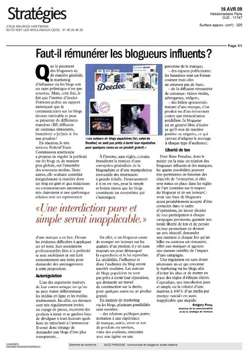 Article STRATEGIES avril 09
