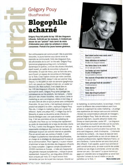 Gregory Pouy Marketing direct mag